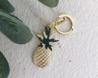 Mini circle earrings with pineapple pendant with cubic zirconia