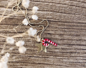Necklace entirely in 925 silver with chain with candy cane and star balls and pendants