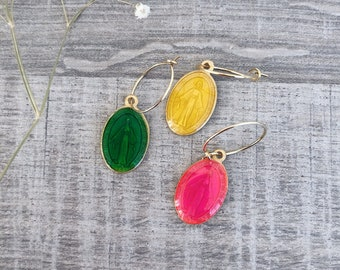 Mono brass hoop earrings with enameled madonnine