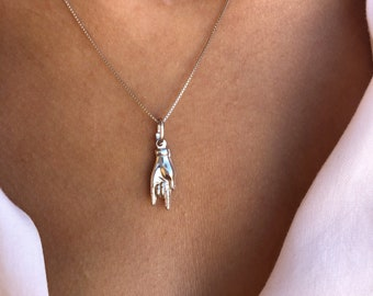 Necklace with venetian chain in 925 silver and hand pendant with horns