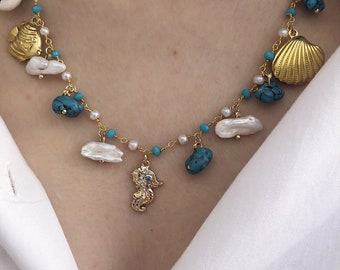 Rosary chain necklace with seahorse with zircons, pearls and turquoise chips stones