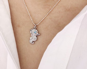 Necklace with 925 silver chain with beads and brass seahorse pendant with cubic zirconia