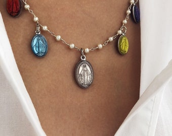 Necklace with rosary chain in brass, starlet and pendants Miraculous Madonna enamelled aluminum