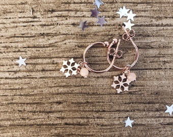 925 rose gold silver hoop earrings with snowflake and rose quartz bead