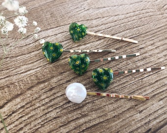 Clips for hair with river pearl and heart in Murano glass