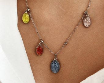 Necklace with steel chain with beads and enamelled madonnine pendants