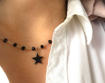 Necklace with brass rosary chain and enamelled star pendant