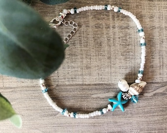 Anklet with mini beads, starfish and shell