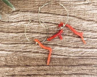 Brass hoop earrings with coral branch