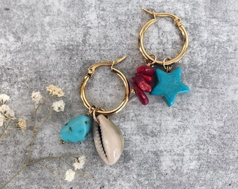 Gold-plated steel hoop earrings with natural shells, coral and turquoise chips stones and turquoise star