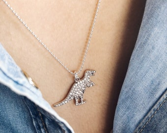 Necklace with 925 silver chain with balls and dinosaur pendants with cubic zirconia