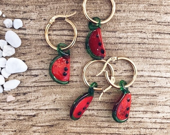 Mono gold-plated steel hoop earrings with glass watermelon pendants