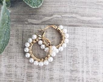 Hoop earrings in gilded steel with pearl