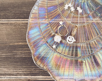 Circles earrings in gilded silver with cubic zirconia and smile pendants in mother of pearl and river pearl