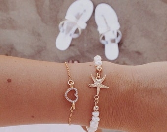 Bracelets with authentic stones and starfish