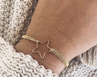 Bracelets with gilded brass chains and gold brass bath star pendant