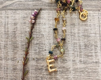 Necklace with rosary chain in 925 silver gold bath with tourmaline or amethyst stones and initial heart pendant in gold brass bath