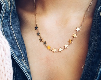 Gold - plated necklace with mini stars