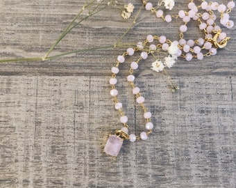 Necklace with brass chain with crystals and quartz pendants