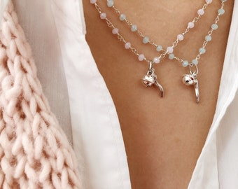 Necklace with rosary brass chain, small horn and bell in 925 silver