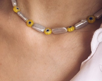 Necklace with rectangular natural pearls and yellow Murano stones
