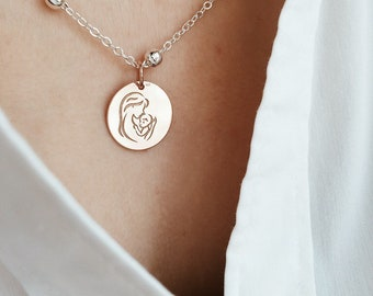 Necklace with chain with aluminum beads and pendant in sterling silver 925 rose gold