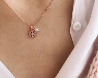 925 rose gold silver necklace with chain with beads, snowflake with zircons and bead