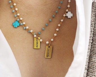 Necklace with brass rosary chain, engraved plate and enameled four-leaf clover