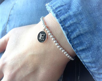 Silver bracelet 925 with initial with black cubic zirconia
