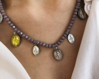 Necklaces with crystals, enamelled and brass madonnine pendants