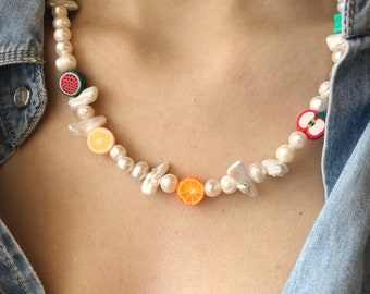 Choker necklace with natural pearls in various shapes and fruit in polymer clay