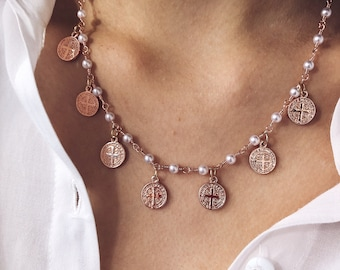 Necklace with rosary chain and rose gold brass coin pendants