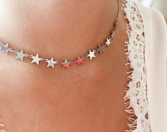 Silver-plated necklace with mini stars