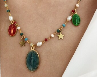 Necklace with rosary chain in brass and pendants Miraculous Madonna