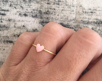 Brass ring with mini pink heart