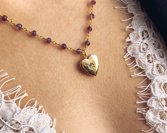 Necklace with rosary chain in 925 sterling silver gold and amethyst stones and locket opening heart brass gold bath