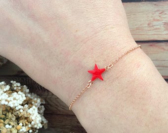 Bracelet in 925 sterling silver, rose gold and enamel star