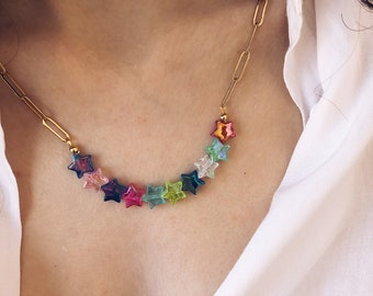 Gold-plated steel necklace with colored resin stars
