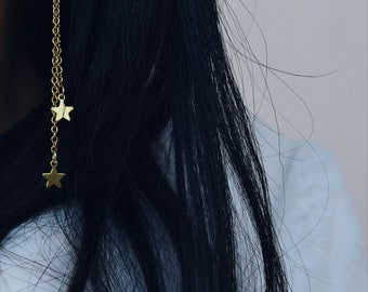 Drop earrings with chain brass and star
