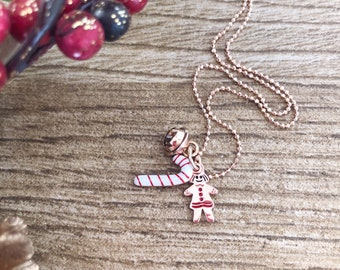 Necklace entirely in 925 silver with Christmas pendants