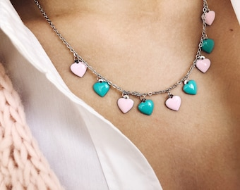 Silver steel necklace with enamel hearts