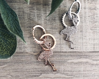 Mini circle earrings with flamingo pendant with zircons
