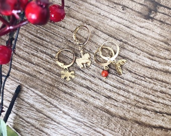 Christmas edition - Mini brass hoop earrings with Christmas pendants