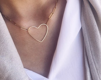 Necklace with golden steel chain and maxi heart