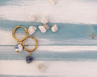 Brass hoop earrings with hand painted ceramic bead and lapis heart