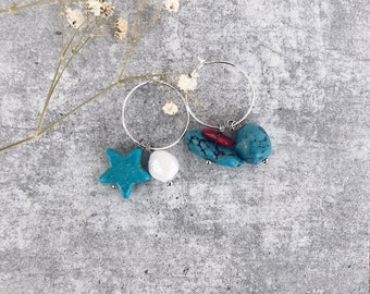 Silver plated brass hoop earrings with turquoise chips stones and stone star