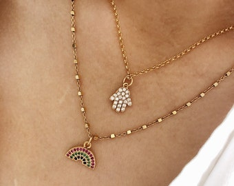 Necklace with chain in golden 925 silver with balls and hand of Fatima in brass with cubic zirconia