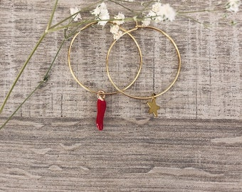 Brass hoop earrings with red cornet pendants and starlet