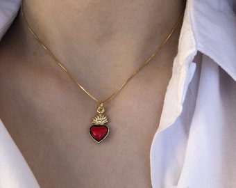 Necklace with smooth chain in 925 silver with gold bath and sacred heart pendant in enameled brass