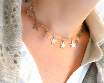 Silver-plated steel necklace with pendant stars